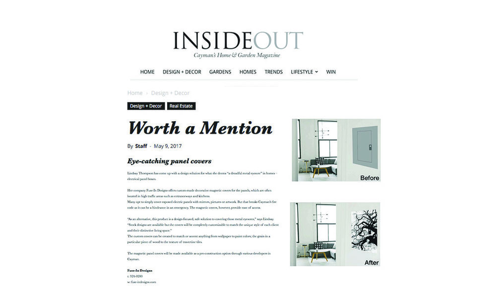 INSIDEOUT ~ CAYMAN'S HOME & GARDEN MAGAZINE    MAY, 2017