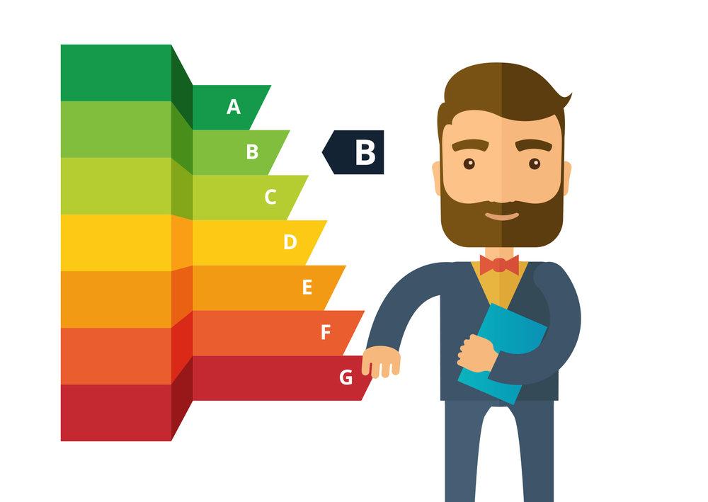 L'échelle des « classes énergétiques » va de A à G