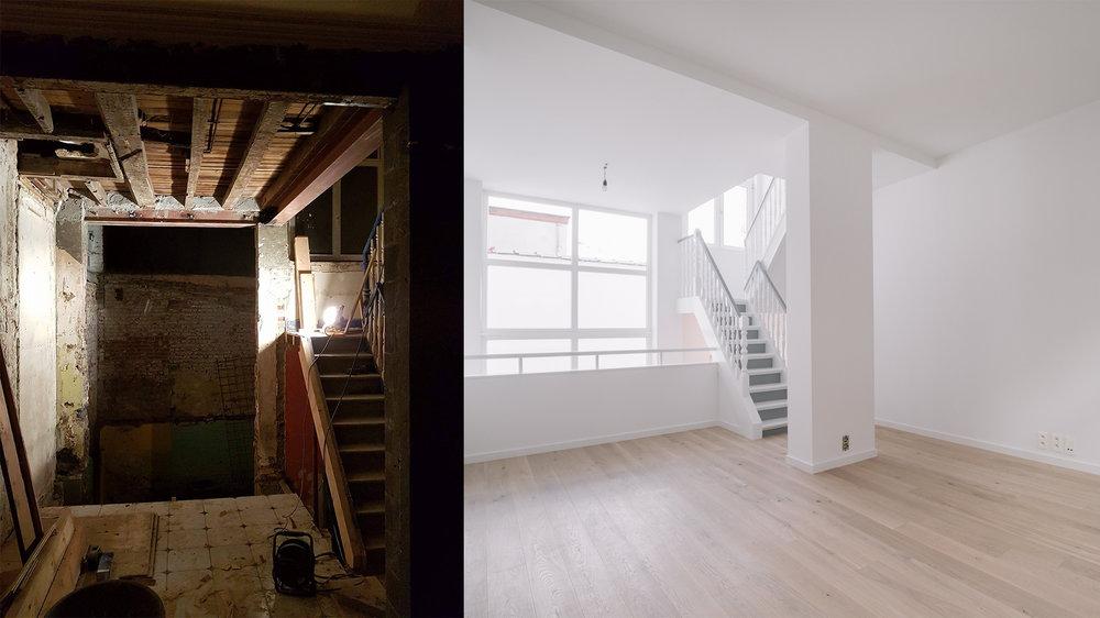 Un meilleur agencement de l'espace a permis de transformer un palier en pièce et bénéficier ainsi de la luminosité de la toute nouvelle baie vitrée.