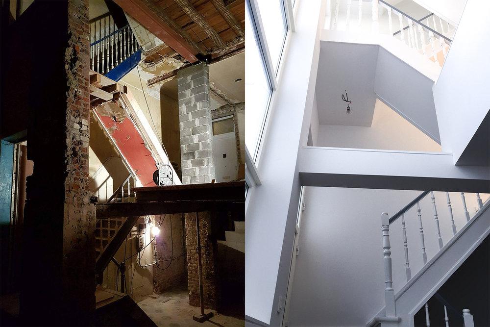 L'escalier et l'atrium ont été complètement désossés puis mis en valeur dans la rénovation, permettant une connexion entre les différents étages
