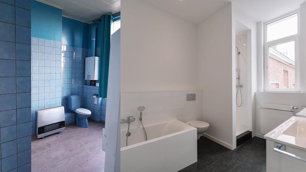 Une réflexion totale des pièces d'eaux, de la tuyauterie au mobilier, donnant un tout nouveau look à cette salle de bain
