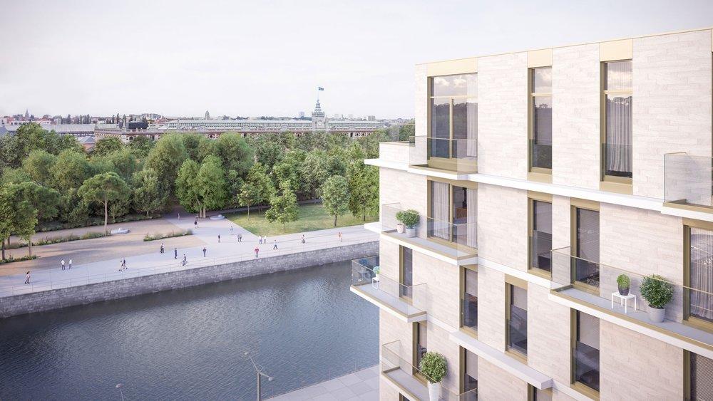 Un des trois blocs du projet se situe directement le long du canal, face au futur parc Béco