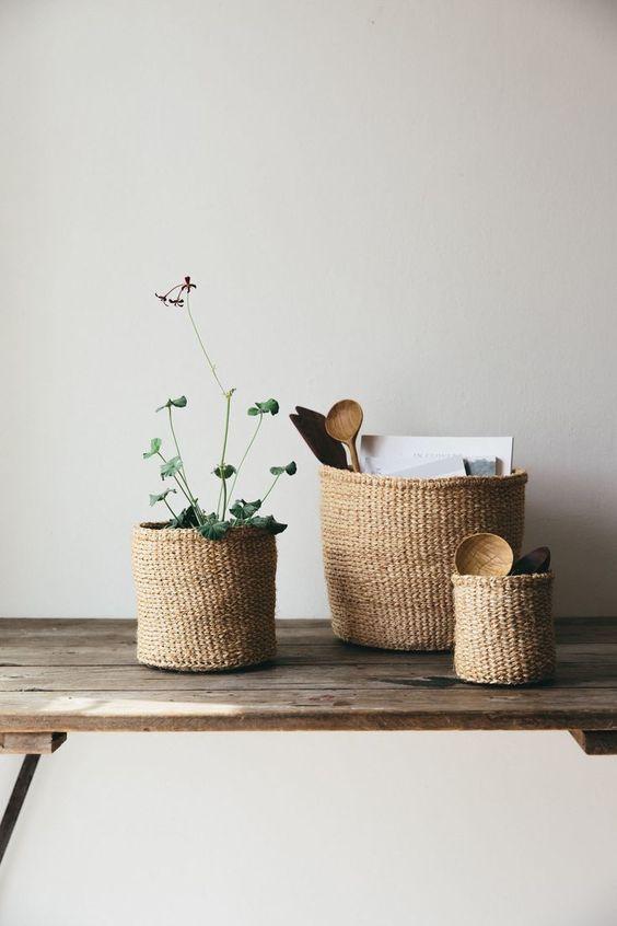 Plaid, clés, plantes,