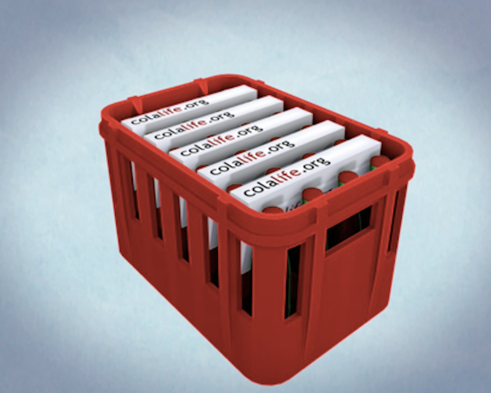 "3D rendering of ""Aidpods"" in a Coca-Cola container. Aidpods could be packed with over-the-counter medications."
