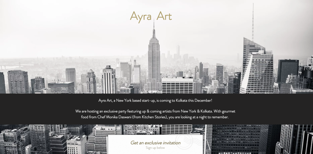 Ayra's landing page (www.ayraart.com) for our first show in India