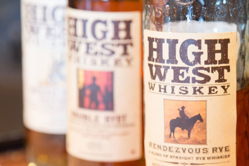 Close up photo of three High West Whiskey Bottle Labels