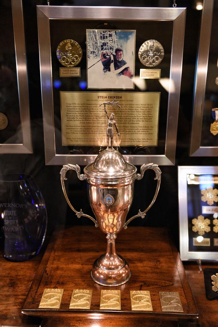 Stein Eriksen Trophy case in Stein Eriksen Lodge.