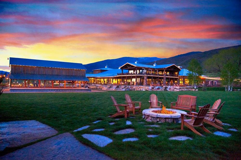 exterior photo of the Dejoria Center at sunset