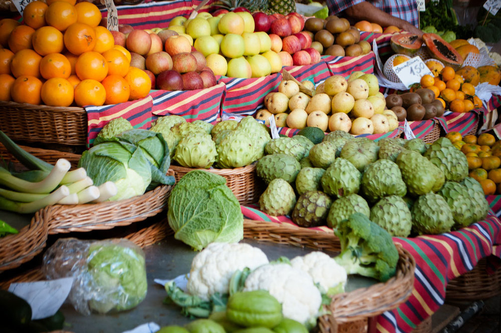 Farmers Market with fresh vegetables.