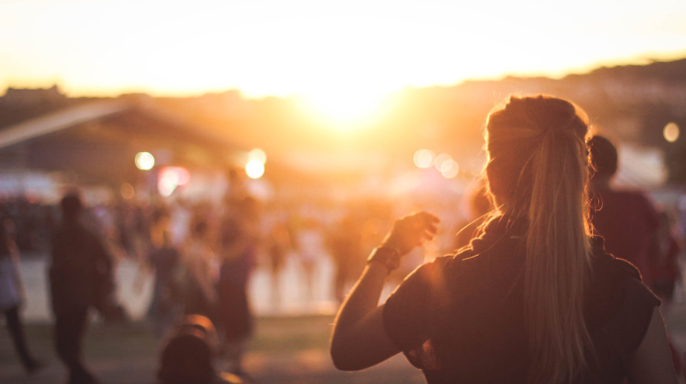 Outdoor concert at sunset