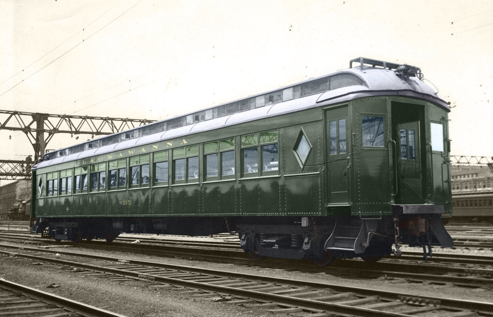 DL&W Club Car 3454 0 #2451 at Hoboken c-1930 - 1931 MU w-stained glass windows EDIT.jpg