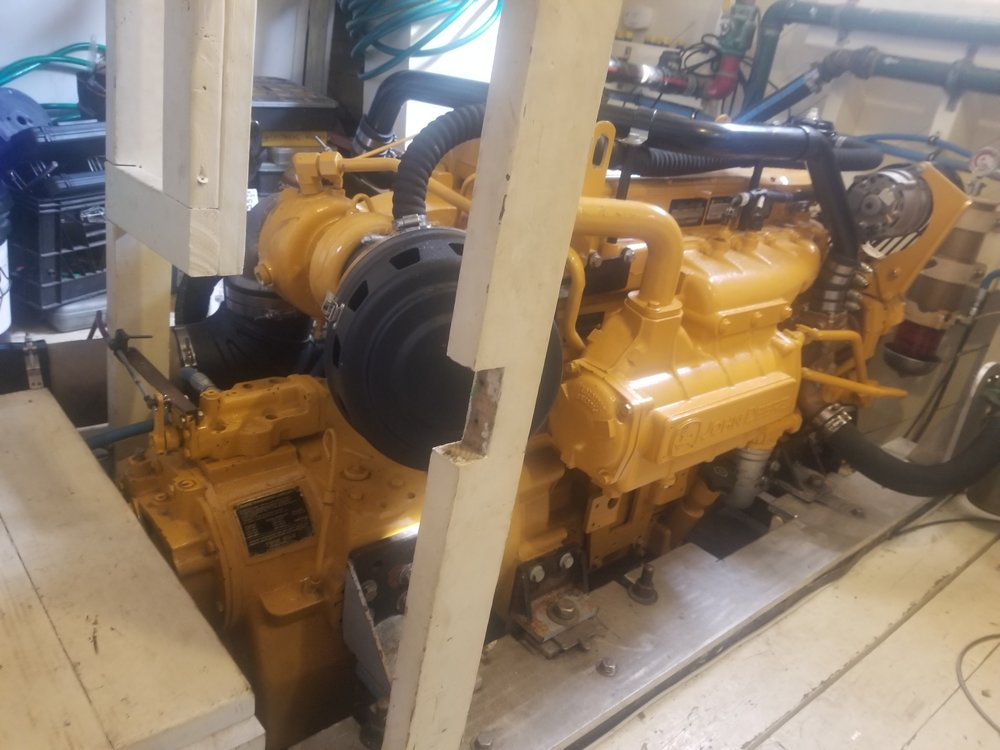 This is the new 6 cylinder John Deere diesel engine for the restored 1928 Delaware Bay Oyster Schooner A. J. MEERWALD. LHRy has provided funding to upgrade the automatic fire extinguishing system for the engine room.