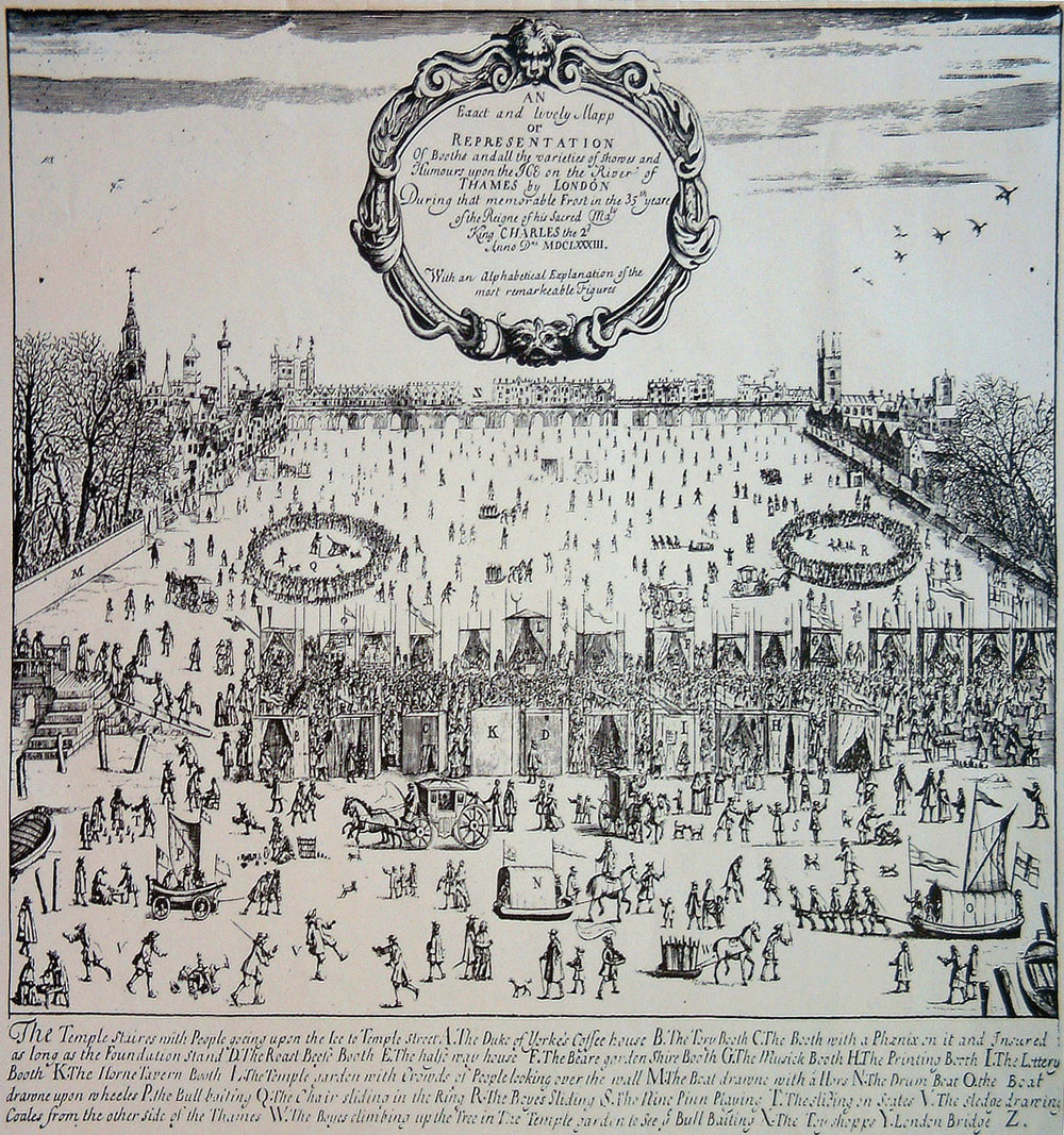 Frost Fair of 1683.  Things got really cold during the Little Ice Age!