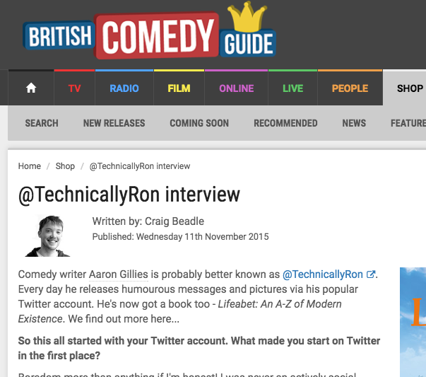 British Comedy Guide Interview