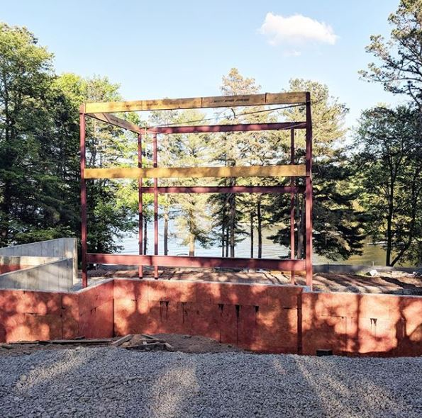 Steel frame being constructed