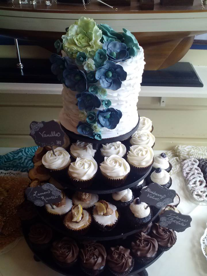 Floral Ruffle Bridal Shower Cake and Cupcakes