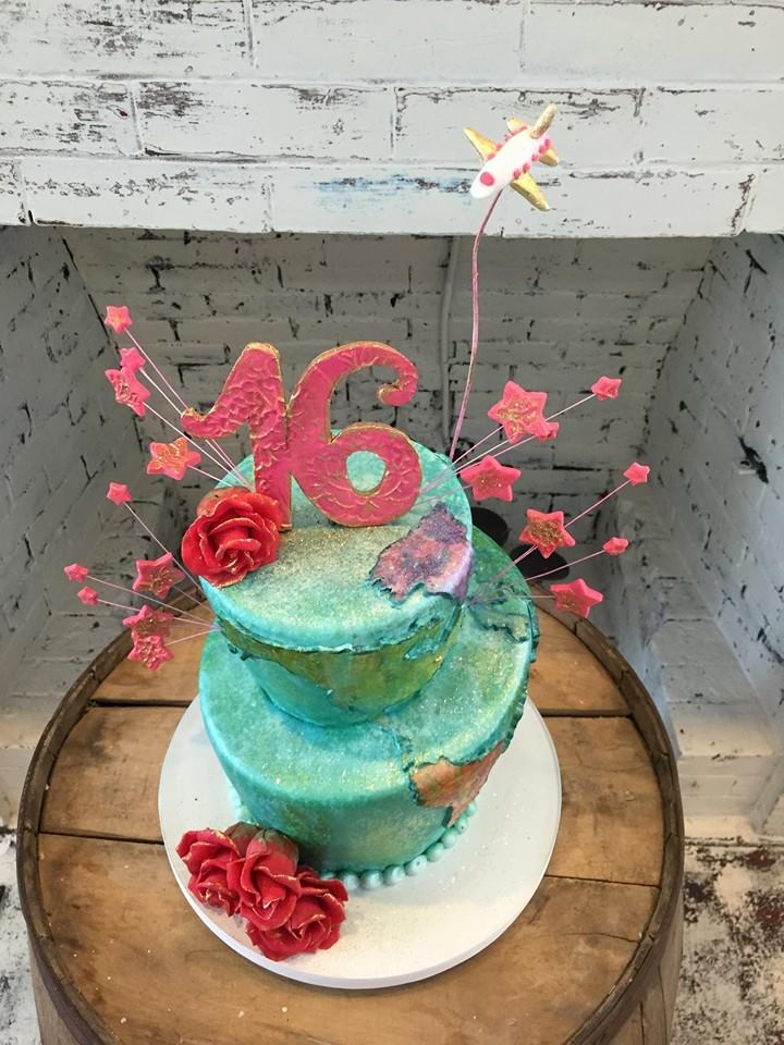 Funky Travel Themed Sweet 16 Cake