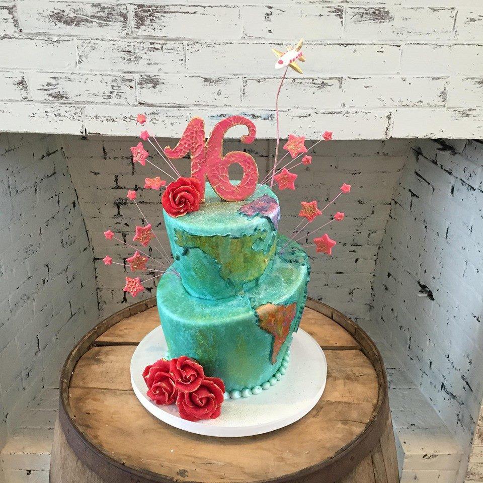 Funky Travel Themed Sweet 16 Cake