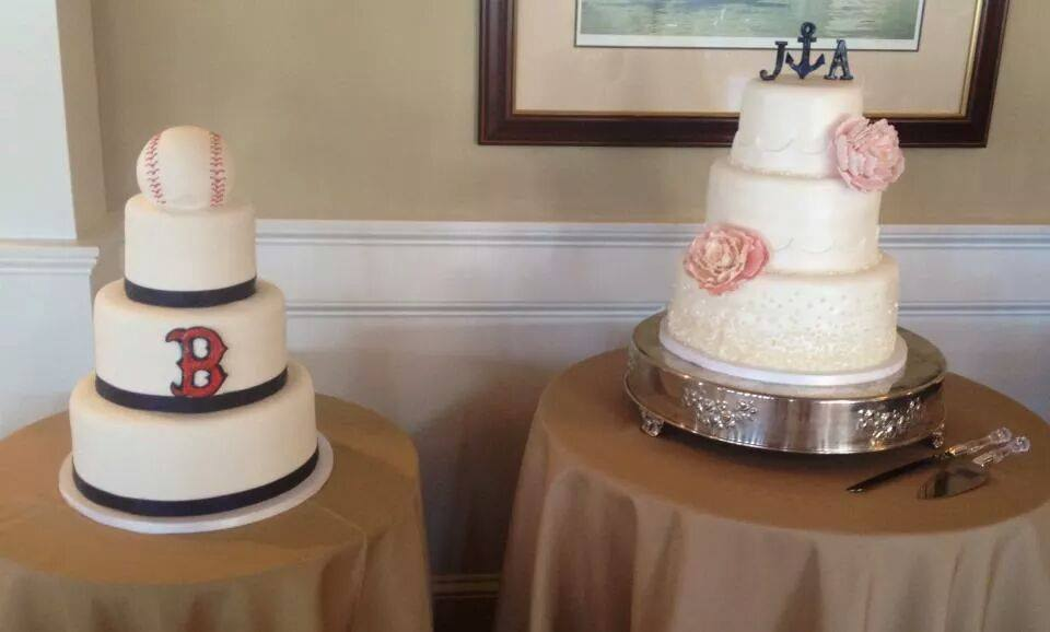 Boston Red Sox Grooms Cake and Beachy Beaded Cake