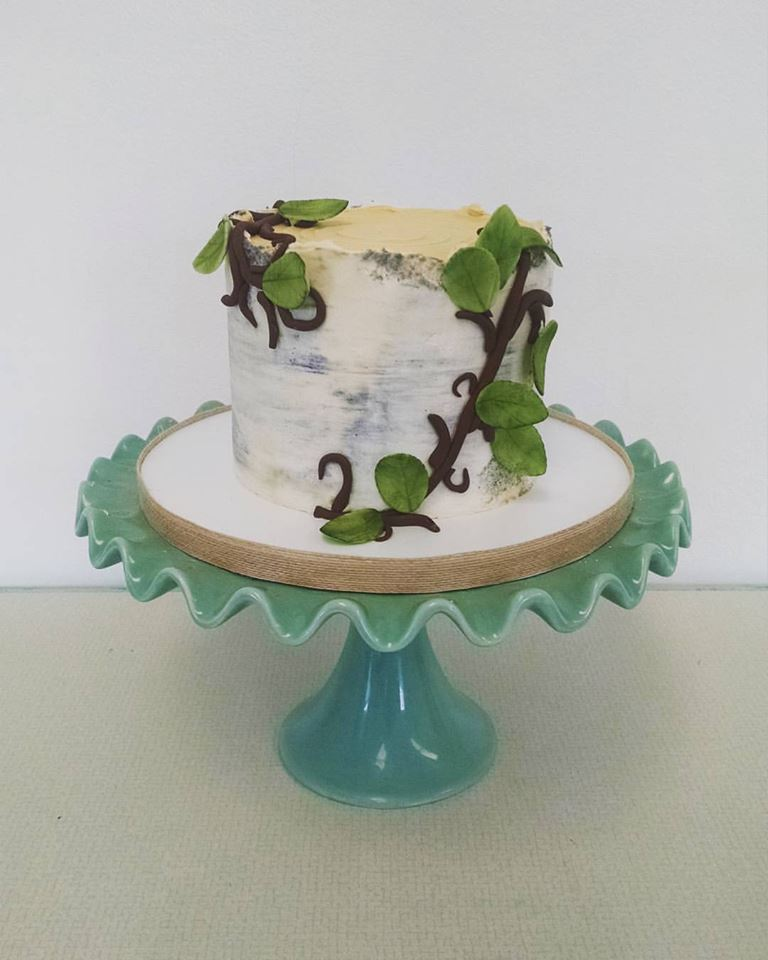 Buttercream Birch Cake with Fondant Leaf Accents