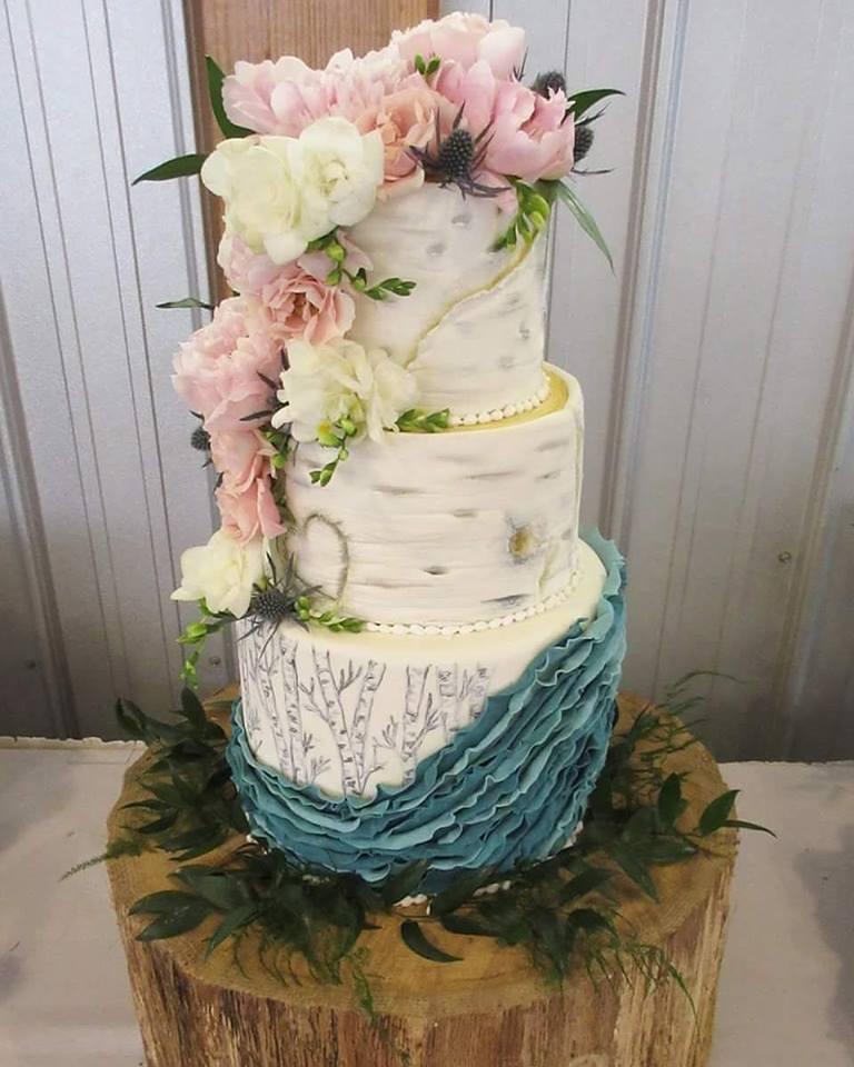 Floral Birch Ruffle Cake
