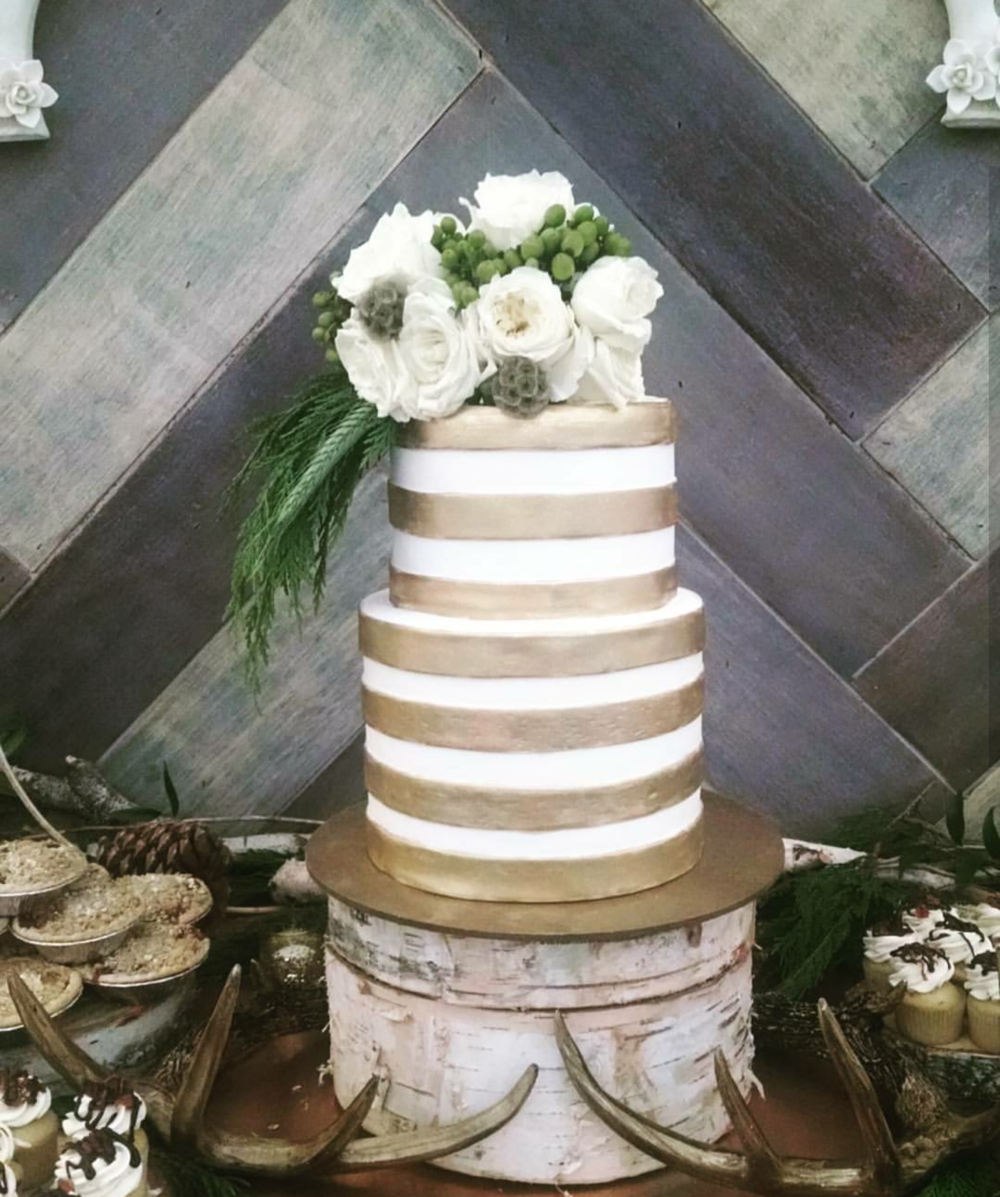Funky Gold Striped Cake