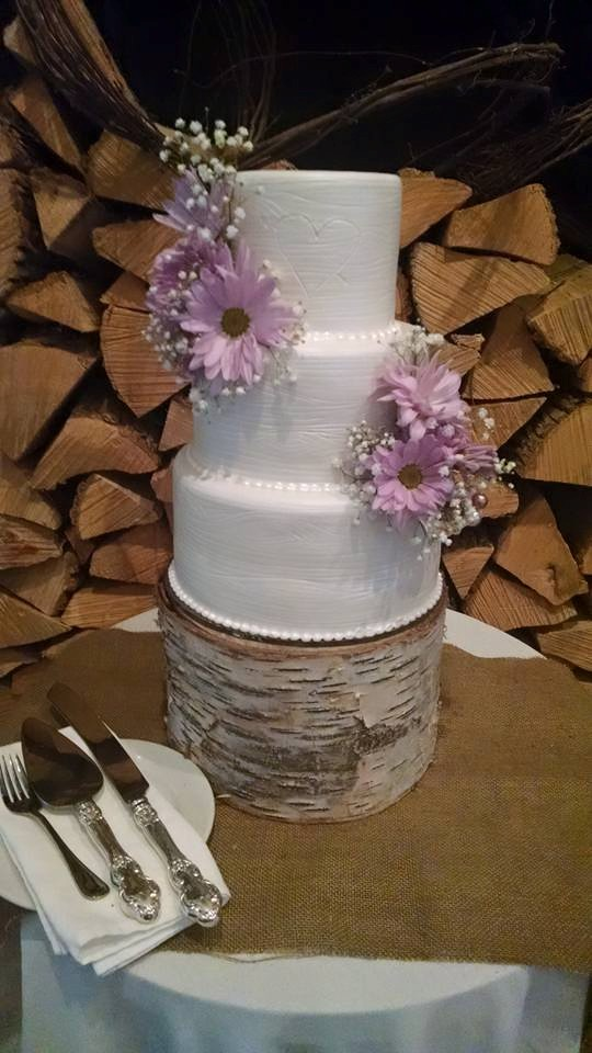 White Woodgrain Cake with Fresh Flowers