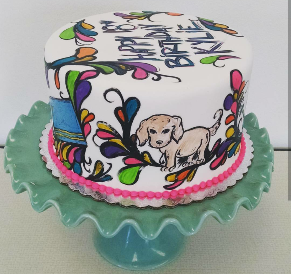 Funky Handpainted Cake