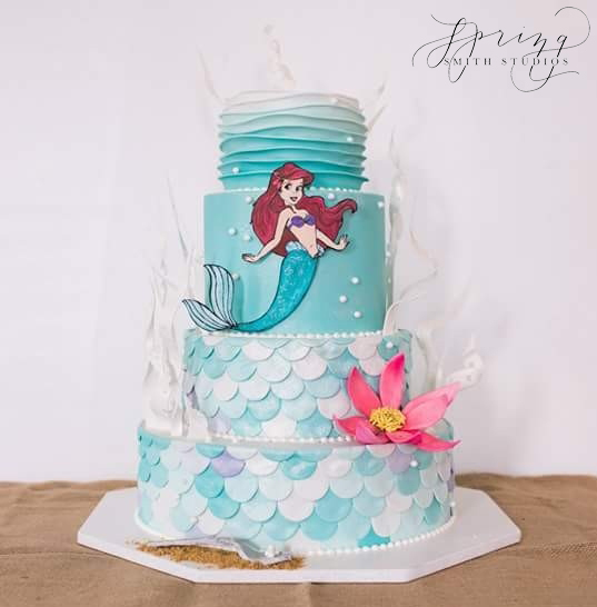 Handpainted Little Mermaid Cake