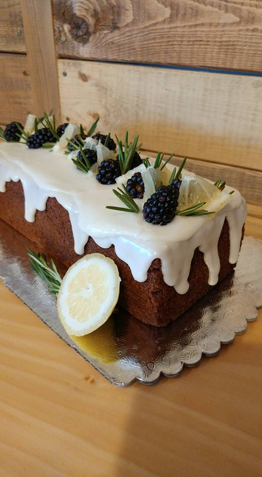 Italian Spiced Honey Cake with Lemon Glaze and Fresh Blackberries