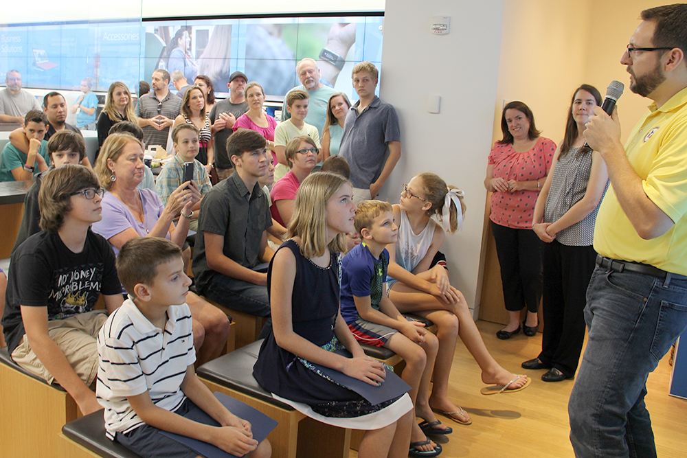 Lone Star Groundwater Conservation District's Education / Public Awareness Coordinator, James Ridgway, Jr., far right, addresses the audience during the Minecraft Water Challenge Winner Announcement on August 28, 2016, at the Microsoft Store in The Woodlands Mall.