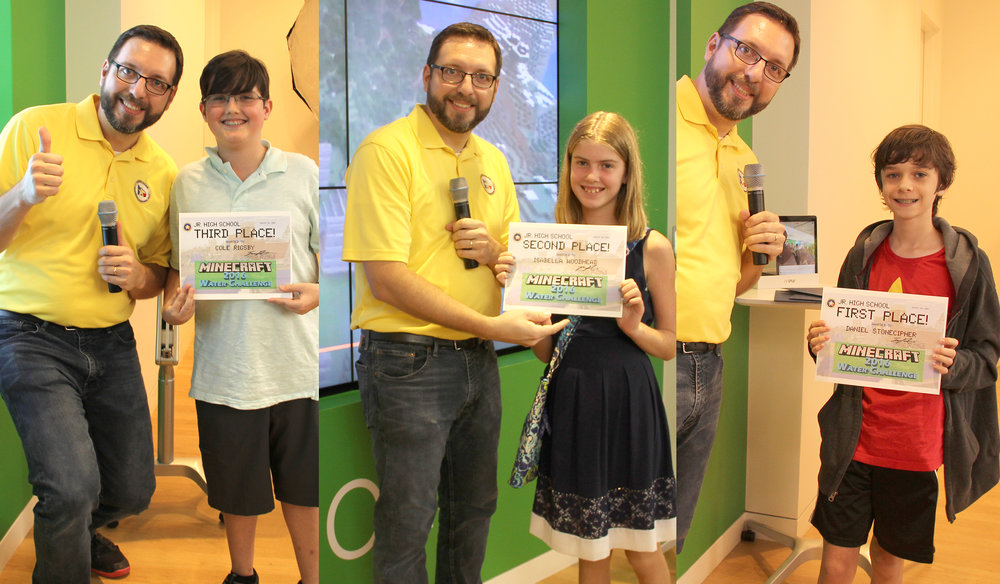 LSGCD's 2016 Minecraft Water Challenge winners—Jr. High Group: James Ridgway, Jr., LSGCD education/public awareness coordinator, wearing the yellow shirt, poses with, pictured left, 3rd-place winner, Cole Rigsby, McCullough Jr. High, pictured center, 2nd-place winner, Isabella Woodhead, Collins Intermediate, and pictured right, 1st-place winner, Daniel Stonecipher, McCullough Jr. High.