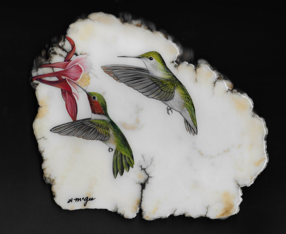 Pair of Hummingbirds / Howlite