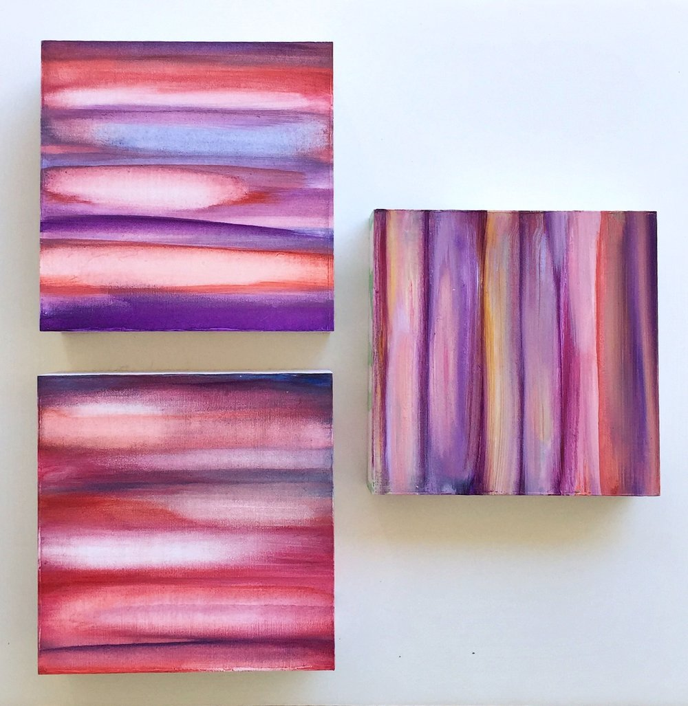 """Transparency,  2017, Set of 3, Wood panel, watercolor paint, acrylic paint, 6x6"""""""