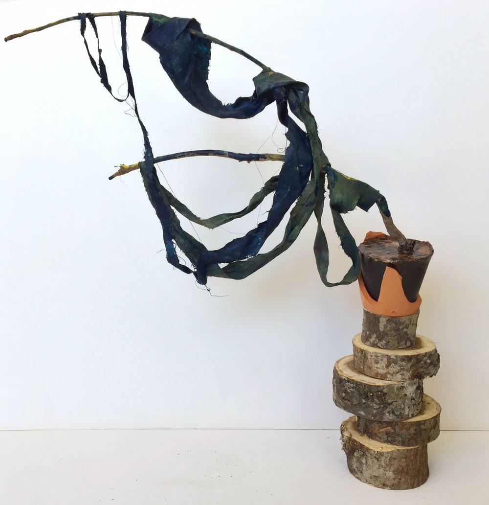 Reaching,  2018, clay, oak, acrylic resin, debris, acrylic paint, branch