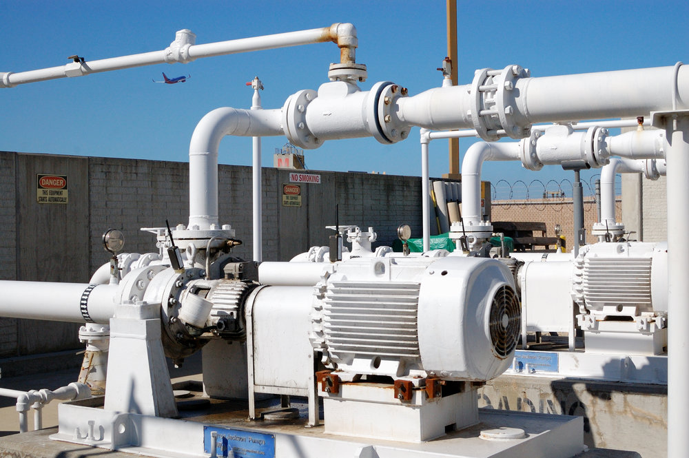 SmartHAWK wireless vibration and temperature sensors monitoring fuel pumps at a major California airport.