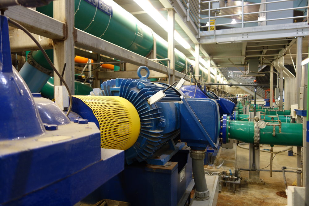 SmartHAWK wireless vibration and temperature sensors monitoring motors at a water treatment plant.