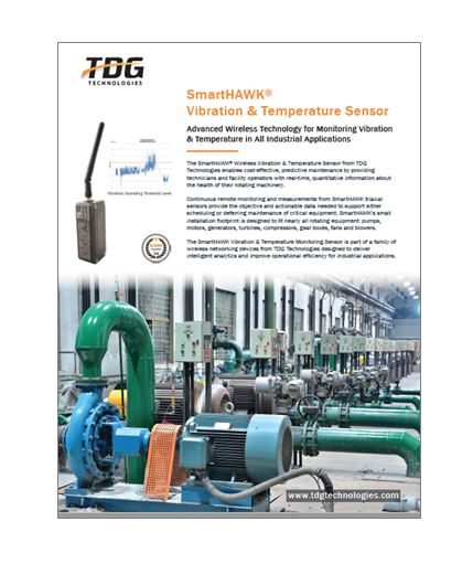 The SmartHAWK Vibration and Temperature Sensor provides cost-effective, predictive maintenance through real-time information about the health of rotating equipment.