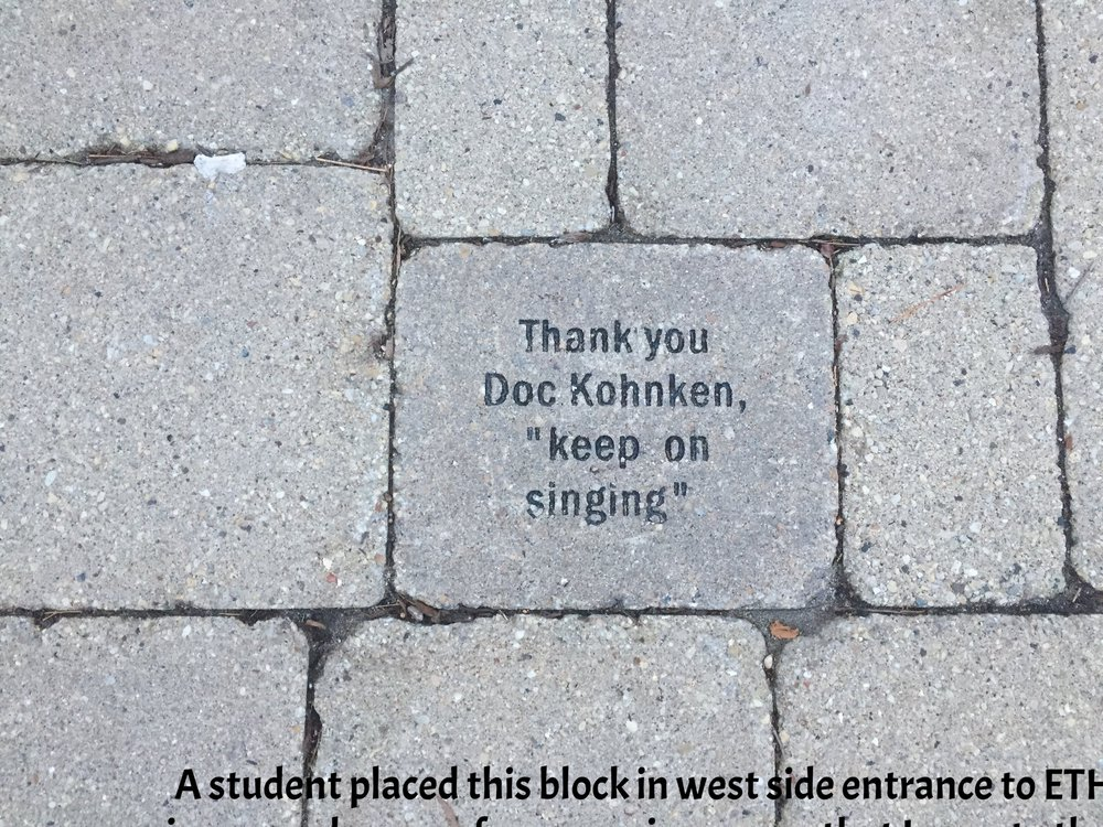 A student placed this block at the west side entrance to ETHS in remembrance of one of my review strategies.