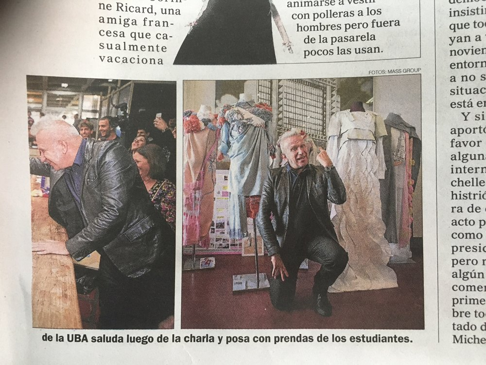 Jean Paul Gaultier sale en el diario el Perfil junto a nuestra Tesis Pneuma