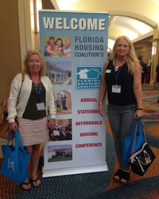 CHR's Office Assistant Helen Jedel, left, and Housing Administrator Nicolle Mastroianni attended the 2016 Florida Housing Coalition Conference in Orlando. (CHR photo)