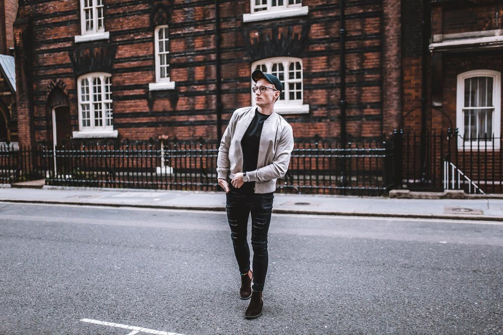 fashionbyollieb ollie Burton fashion new look influencer program 2017 August content denim experimenting high street fashion London mens lifestyle blogger fashion travel food grooming model tall red head ginger man by ollie b instagrammer photographer professional genuine marketing content creator ripped black skinny jeans grey bomber black tshirt kurt geiger brown boots mens street style urban fashion new catalogue new look new range new style what should i wear mens outfit ideas mens casual outfit ideas mens smart casual outfit ideas what should I wear as a man? Glasses gant designer glasses black frame black cap wearer carhart 6ft man silver stone bomber jacket shooting in london candid fashion photography