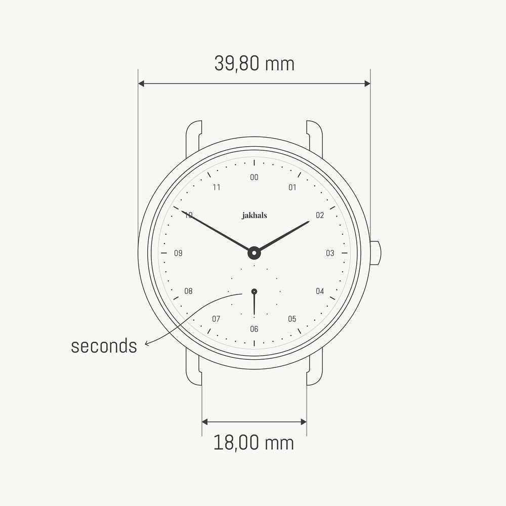 - MeasurementsDiameter — 39,8mmWatch thickness — 7,3mmWrist fitting — 160mm – 210mmStrap width — 18mmWeight — 65gMaterialsBrushed steel finish316L stainless steel caseMazzucchelli 1849 cellulose acetateScratch resistant sapphire crystalVegetable tanned leather strapUse3 ATM water resistantJapanese quartz movement by Miyota2 years worldwide warranty