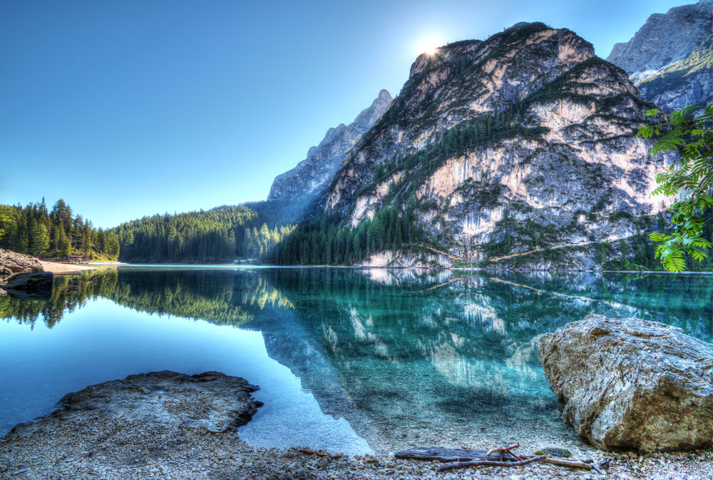 Beautiful mountain reflection in Lake Tahoe California
