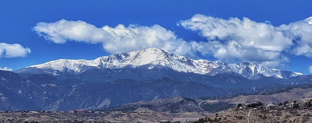 Pikes Peak after a day of snow, as seen from the theatre.