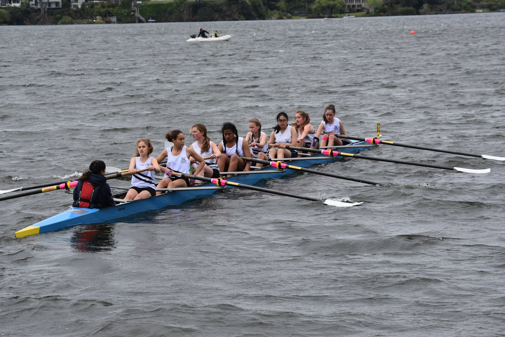 Our novice girls eight sets off for the starting line. In the conditions on the day, the starting line seemed a long way away.
