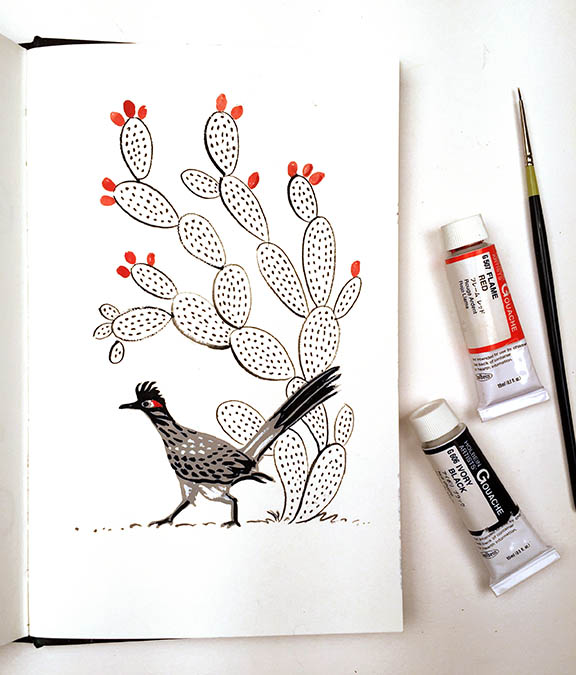 Bird and cactus