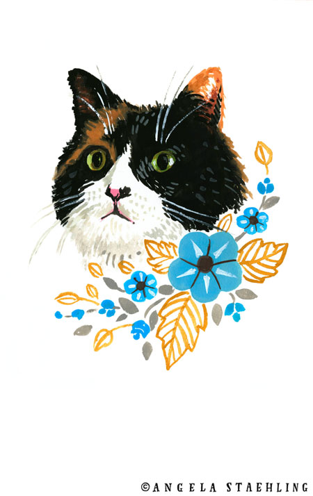 Cat With Blue Flowers