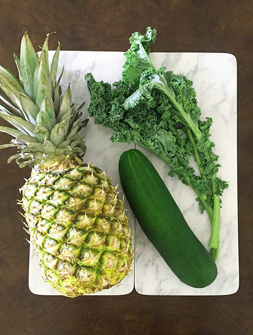 What you need: 1. Pineapple 2. Cucumber 3. Kale 4. Coconut Water or Plain Yogurt (If you are using a blender) 5. A Juicer or Blender Directions using a juicer: Step 1: Cut the pineapple into chunks and put into the juicer on high. Step 2: Put kale into the juicer on high. Step 3: Put cucumber into the juicer on medium. Step 4: Pour over ice and voila! Don't have a juicer? You can also make the rejuvenating kale juice in a blender. Here is how to make rejuvenating kale juice using a blender: Step 1: Combine coconut water, pineapple, cucumber, and kale into blender.  *Note: For a creamier smoothie, you can use plain yogurt instead of coconut water. Step 2: Blend. Step 3: Voila!