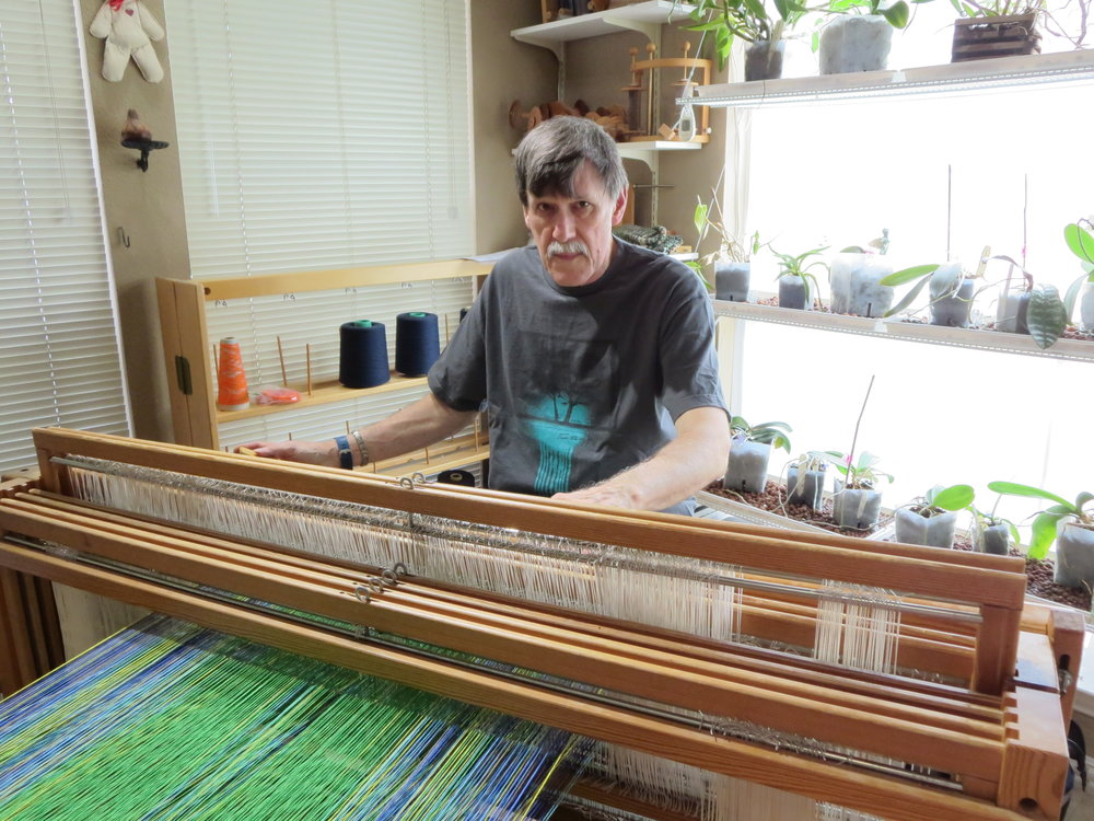 "Richard using a ""jack"" loom"